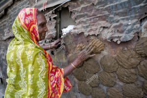 woman pressing cow dung to dry on the wall of a house shibpur district CRAYAK